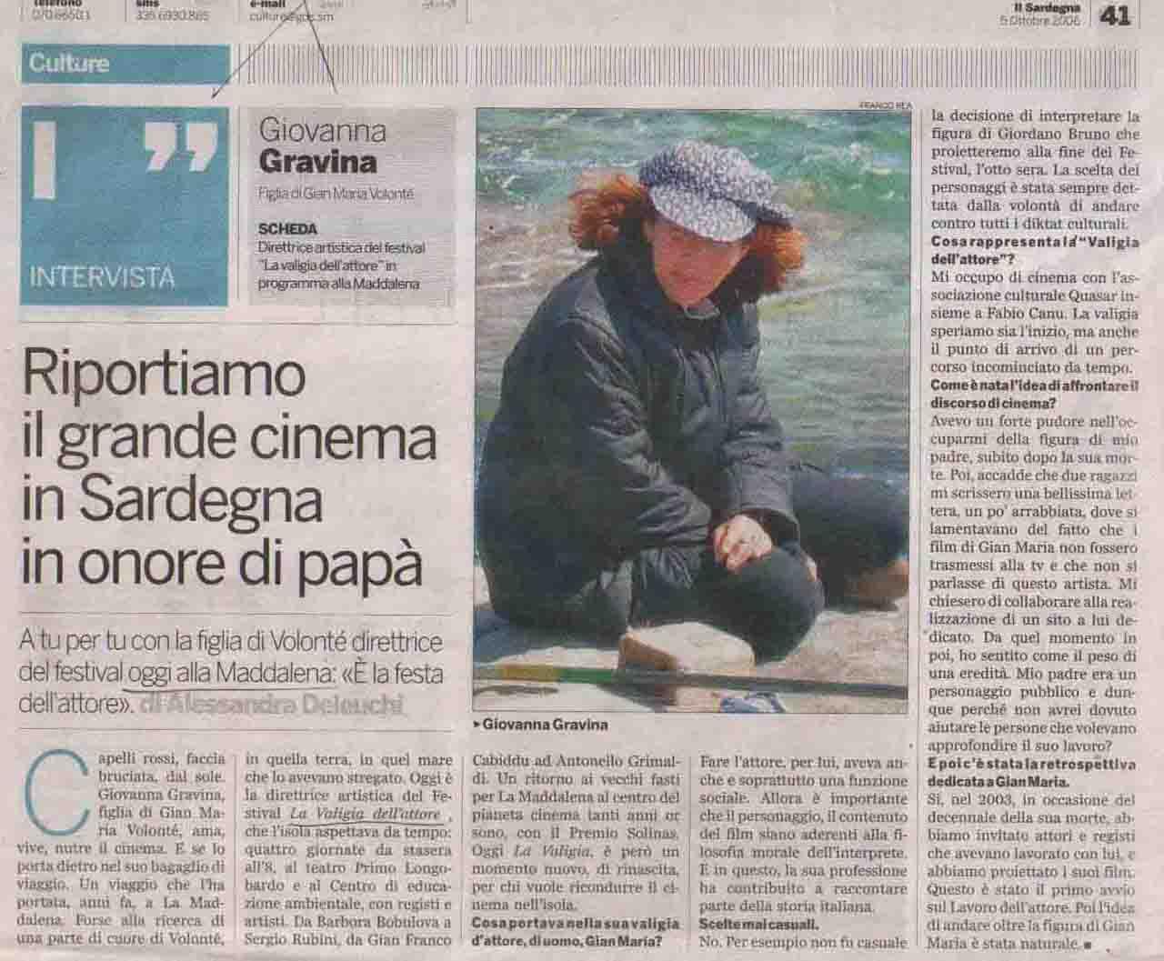 Il Sardegna (culture) 5 ott 2006