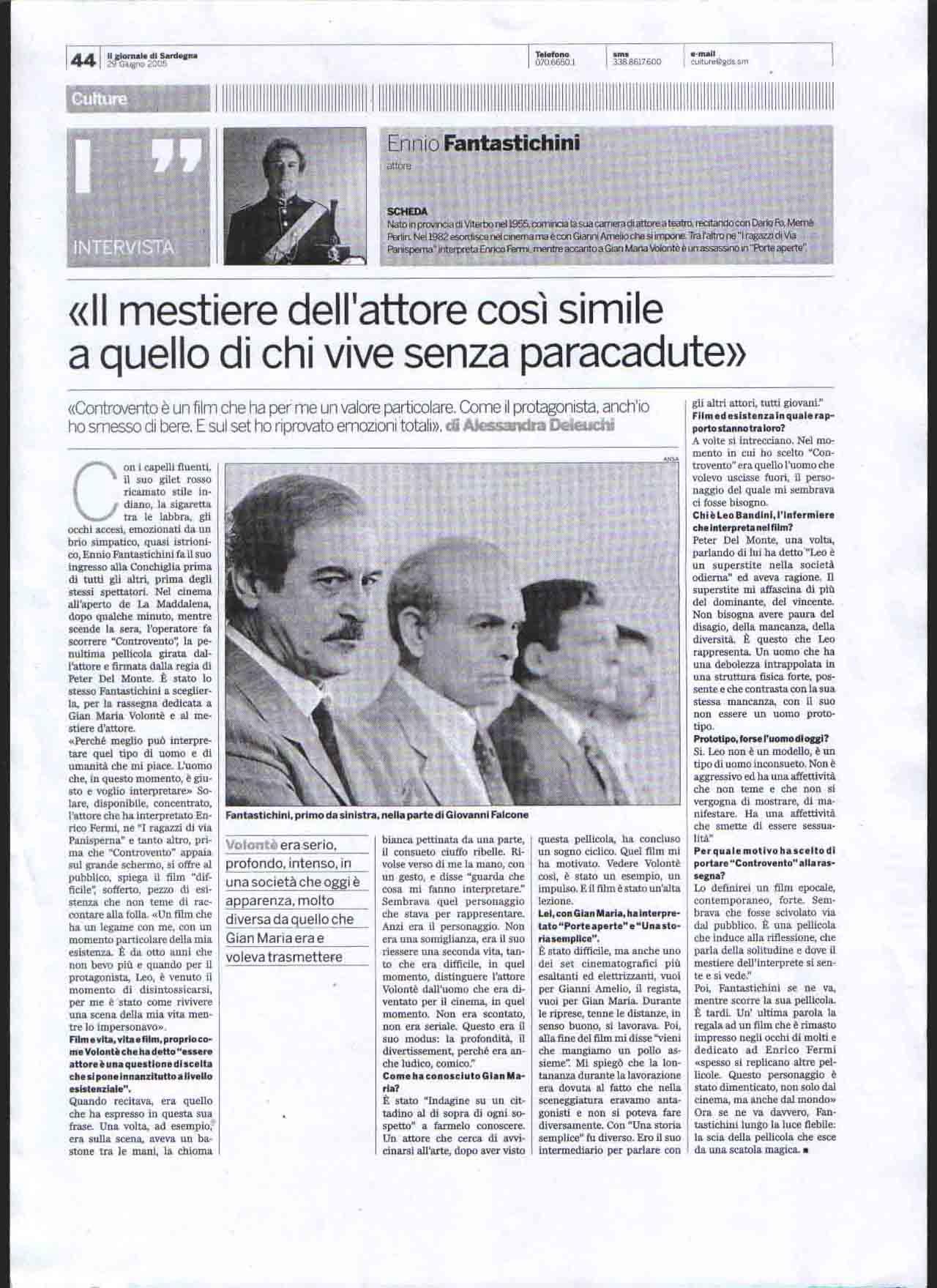Il giornale di Sardegna 29 giu 2005