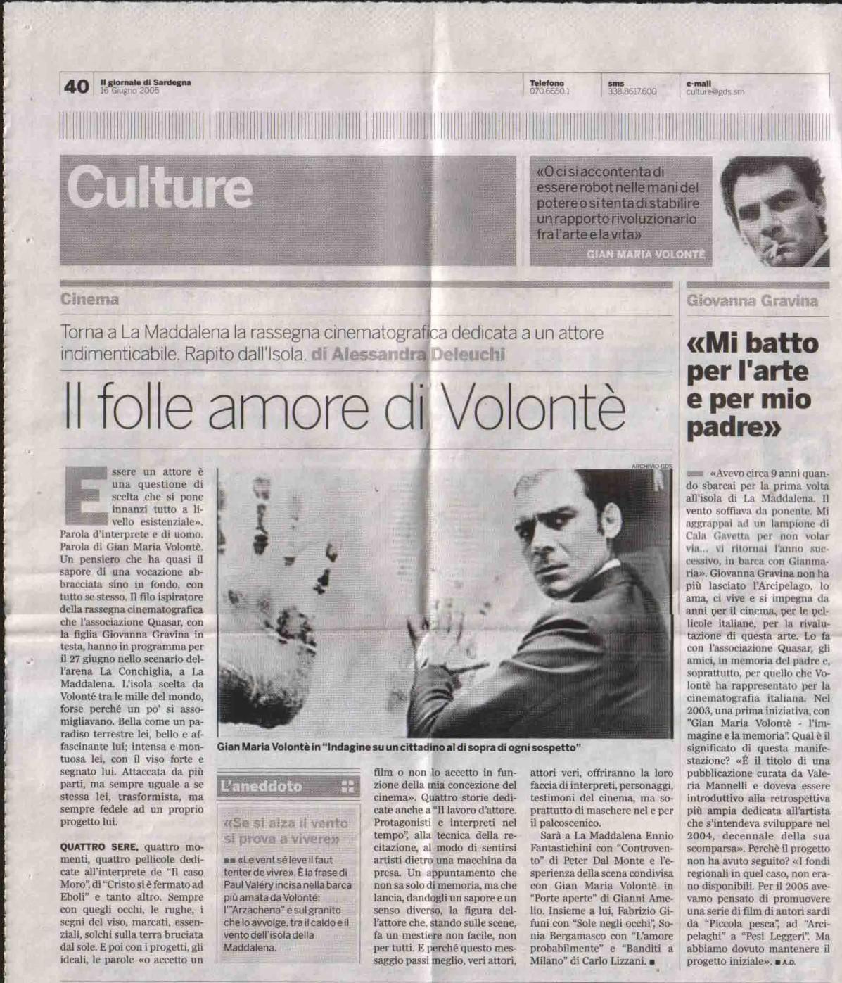Il giornale di Sardegna (culture) 16 giu 2005