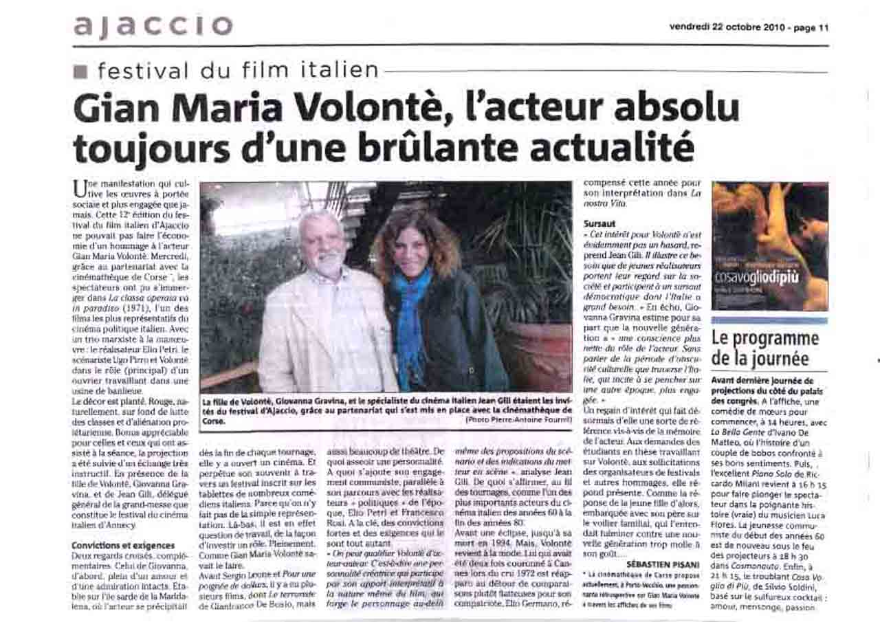 22-10-2010 Article Corse Matin Ajaccio copia