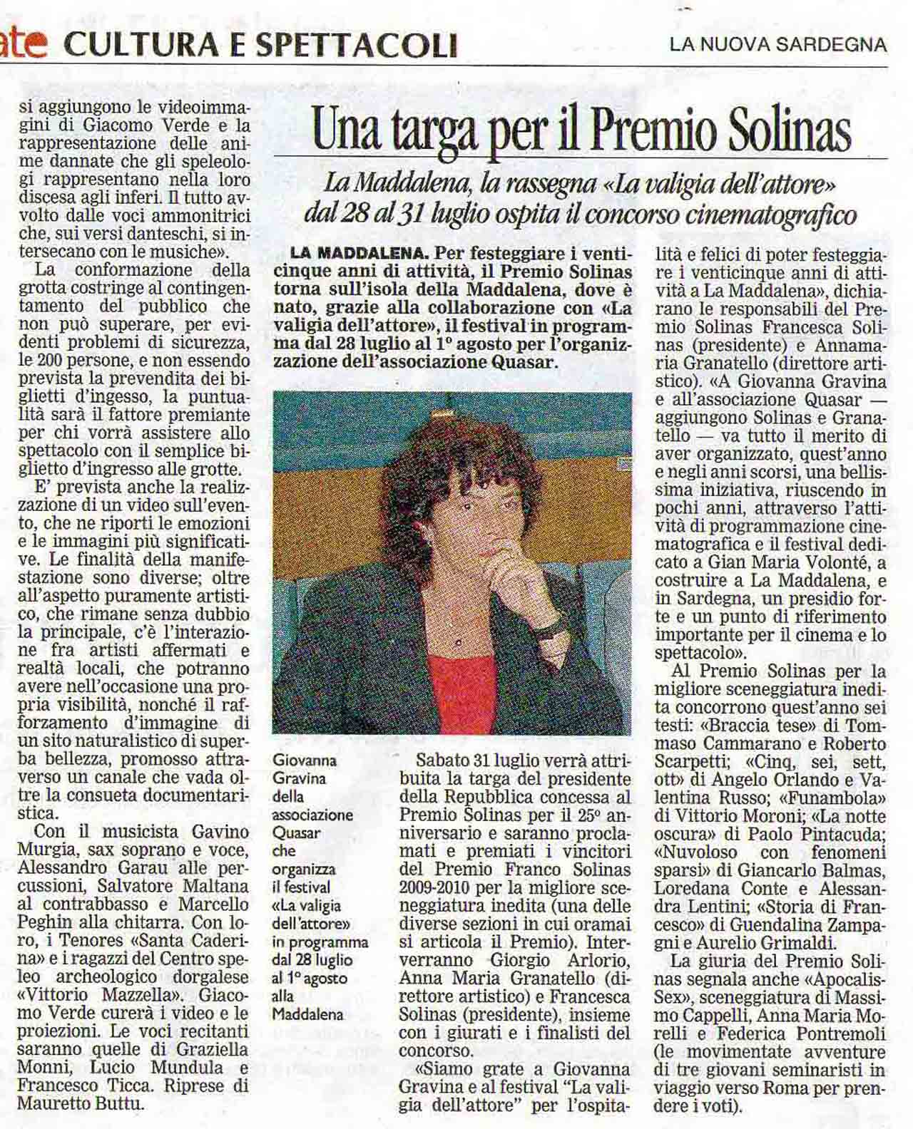 25-07-2010 La Nuova Sardegna