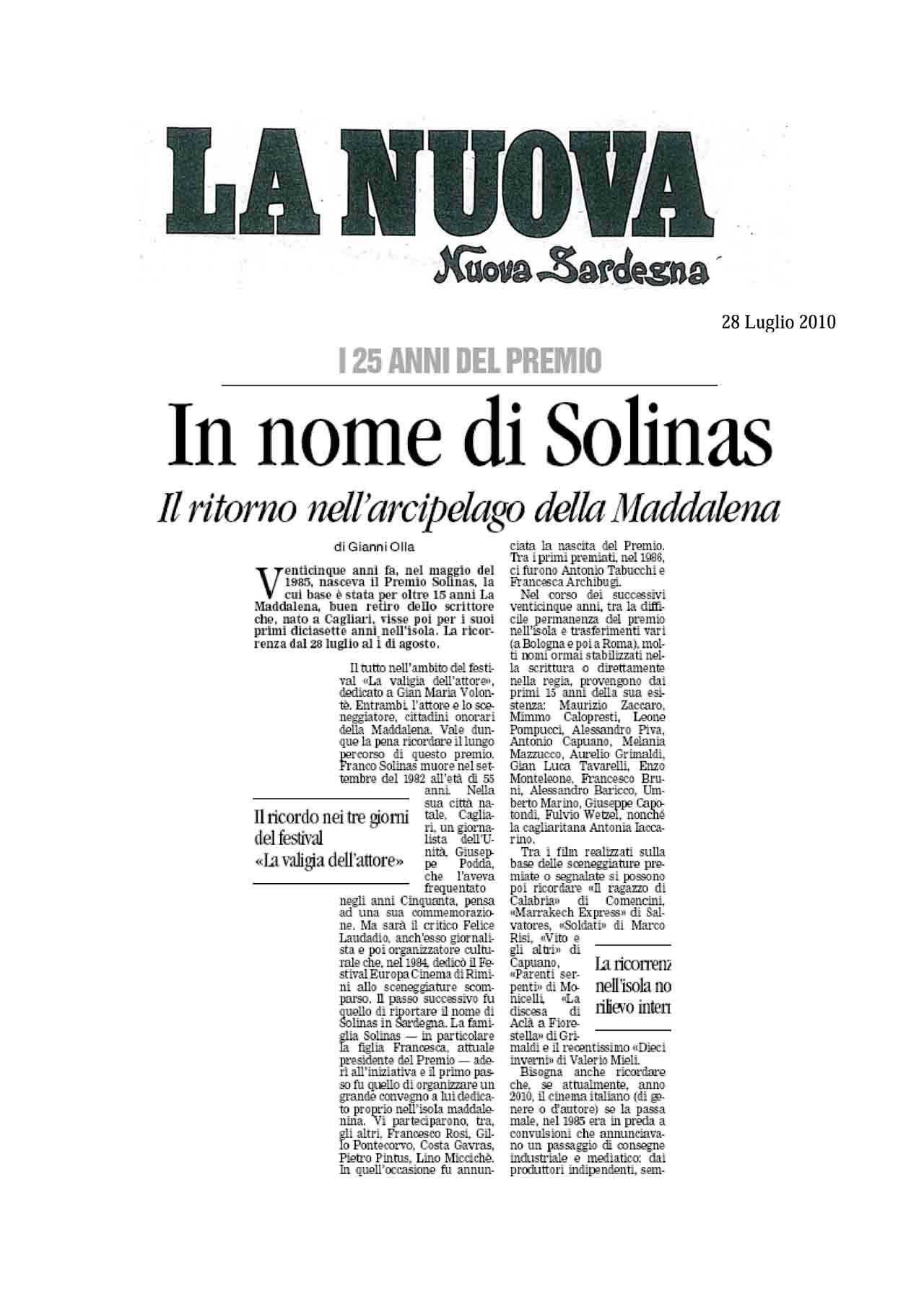 28 07 10 La Nuova Sardegna pag 1