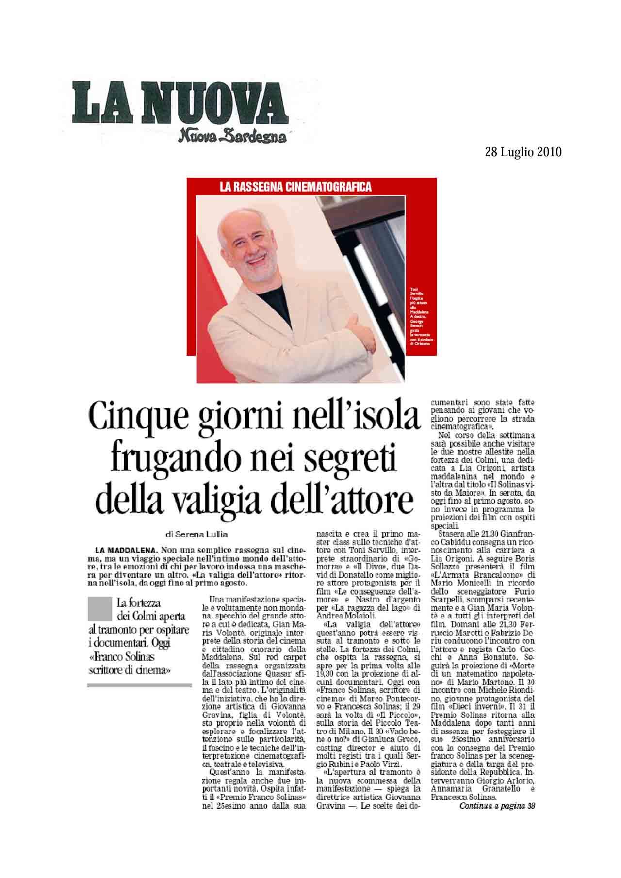 28 - 07 - 10 La Nuova Sardegna pag. 1