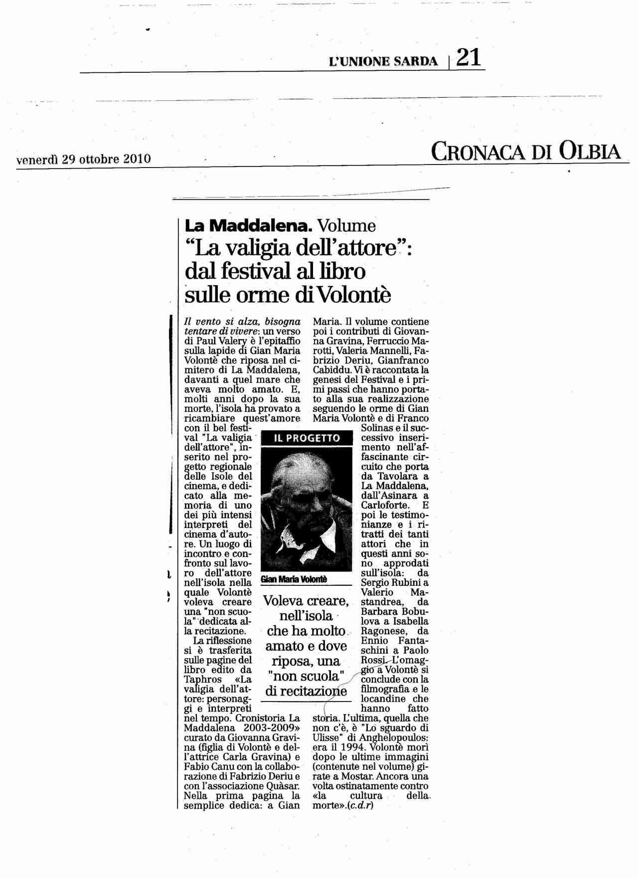 29-10-10L'Unione sarda (Catalogo)