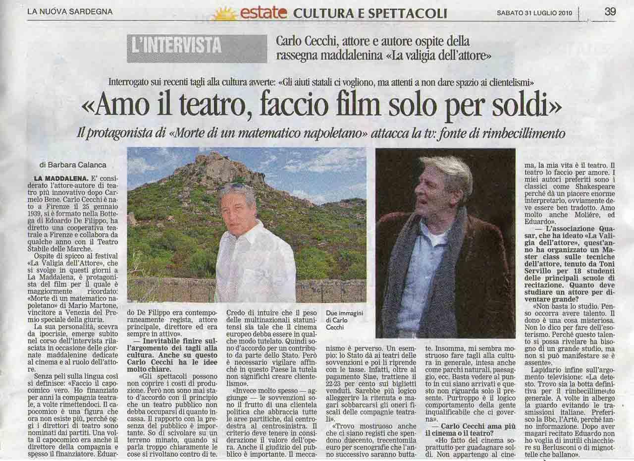 31-07-2010 La Nuova Sardegna