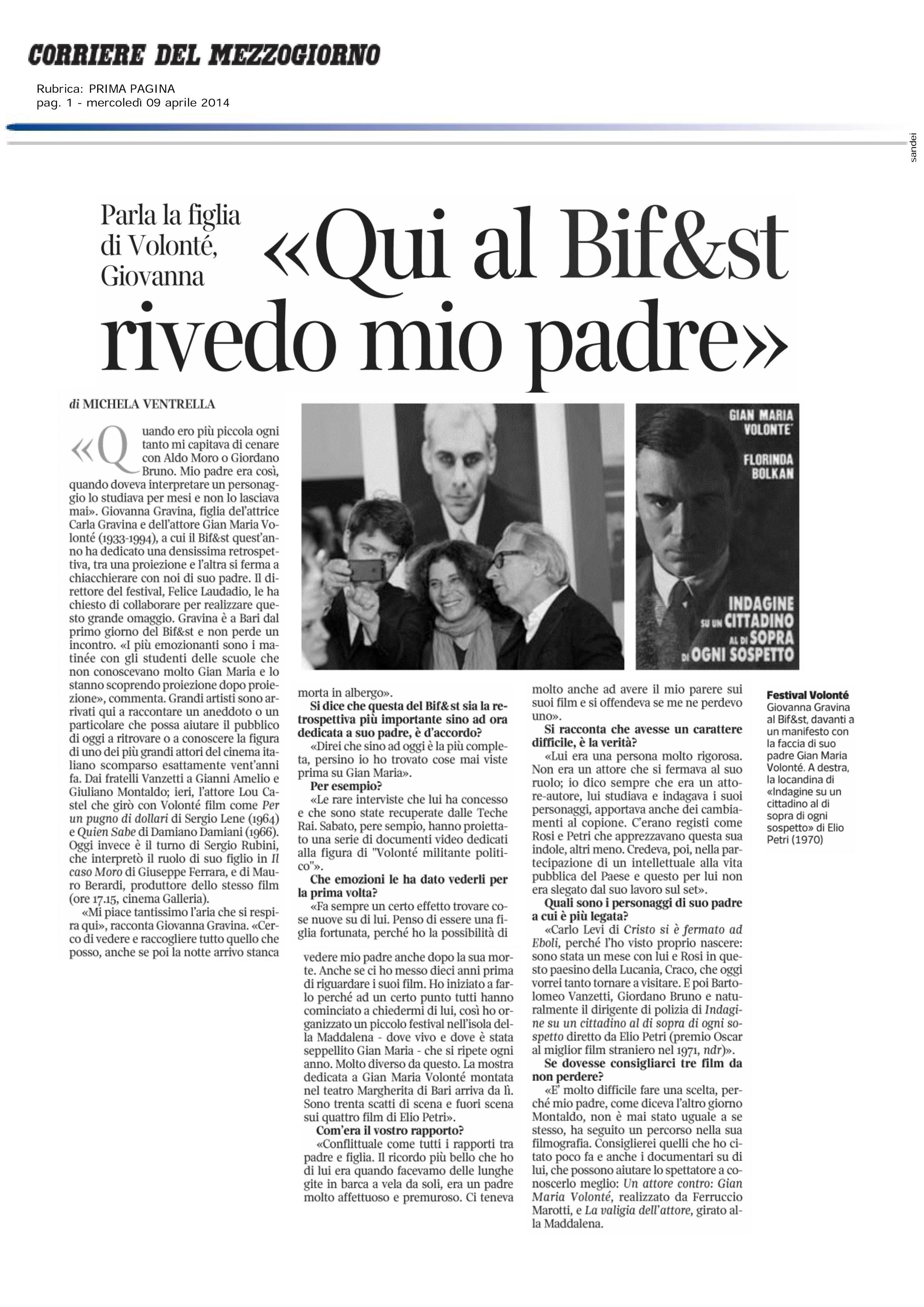 Corriere del Mezzogiorno 09-04-14 2