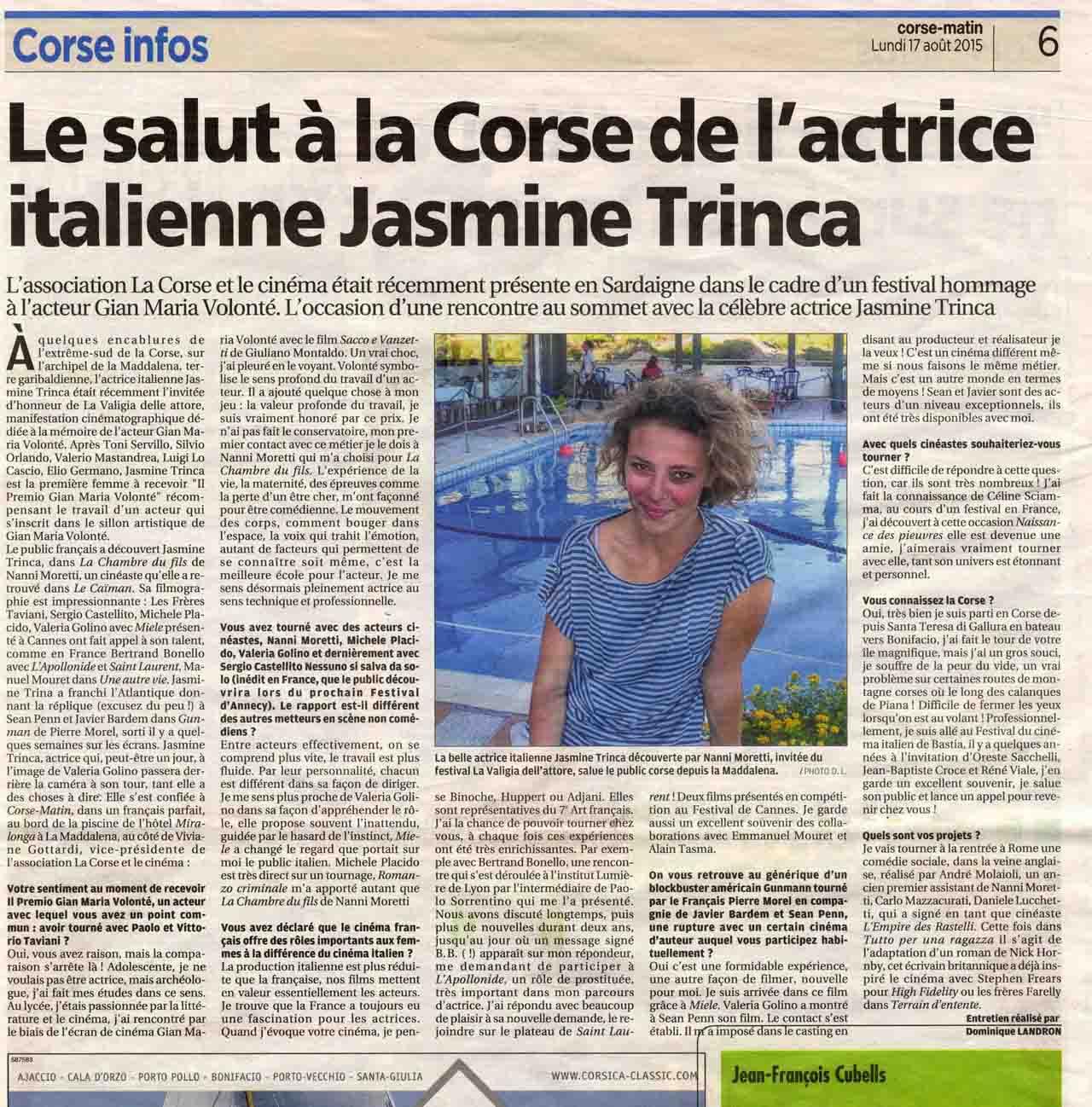 Corse Matin - 17 agosto 2015