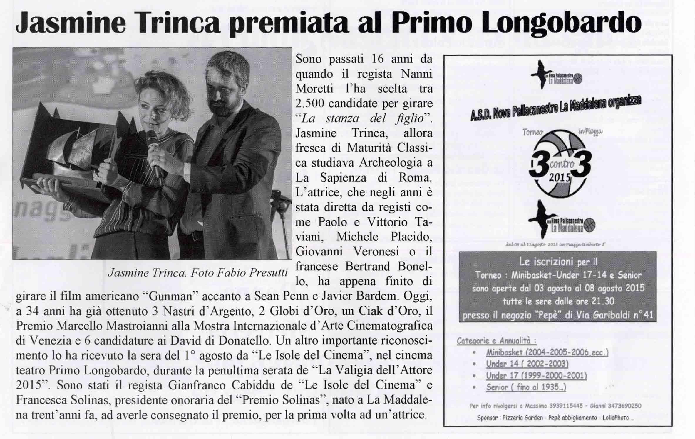 Il Vento - Jasmine Trinca premiata al Longobardo