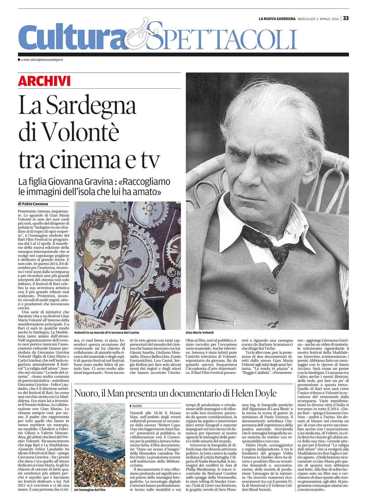 La Nuova Sardegna 02.04.2014