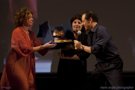 29 luglio - Fortezza I Colmi - La Valigia dell'Attore 2016 Premio Gian Maria Volonté 2016 a Stefano Accorsi con Carolina Rosi -Silvia Scola - Foto di Nanni Angeli