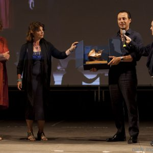 29 luglio - Fortezza I Colmi - La Valigia dell'Attore 2016 Premio Gian Maria Volonté 2016 a Stefano Accorsi con Carolina Rosi -Silvia Scola - Enrico Magrelli - Foto di Nanni Angeli