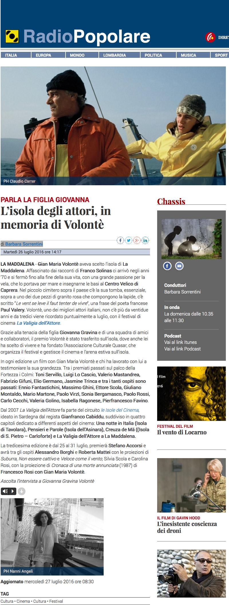 radio popolare intervista a Giovanna Gravina Volonté del 26 luglio 2016 - Vai al sito di Radio Popolare
