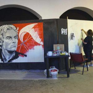 """La Valigia dell'Attore 2017 - mostra live painting di Tina Loiodice """"Volti del Cinema"""" - foto di Fabrizio Ena"""
