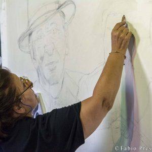 28 luglio - Fortezza I Colmi - Live Painting Tina Loiodice - La Valigia dell'Attore 2017 - foto di Fabio Presutti