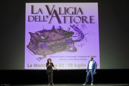 La valigia dell'attore 2019 - La Maddalena 28 luglio 2019 - Premio Gian Maria Volonté. Giovanna Gravina e Boris Sollazzo. Foto di Nanni Angeli