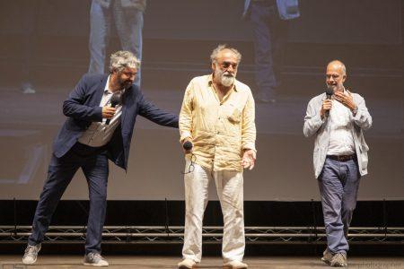 La valigia dell'attore 2019 - 27 luglio - Fortezza I Colmi - Boris Sollazzo, Alessandro Haber e Fabio Ferzetti - foto di Nanni Angeli