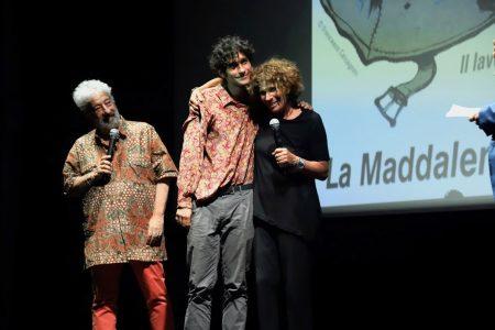 La valigia dell'attore 2019 - 28 luglio - Sala Primo Longobardo - Premio Gian Maria Volonté. Gianfranco Cabiddu, Lorenzo Fantastichini e Giovanna Gravina. Foto di Ugo Buonamici